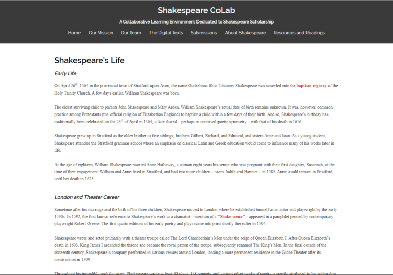 Faculty Site-Shakespeare CoLab